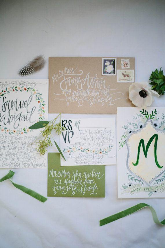 Earthy Watercolor Wedding Invitations Greens / by ShannonKirsten ...