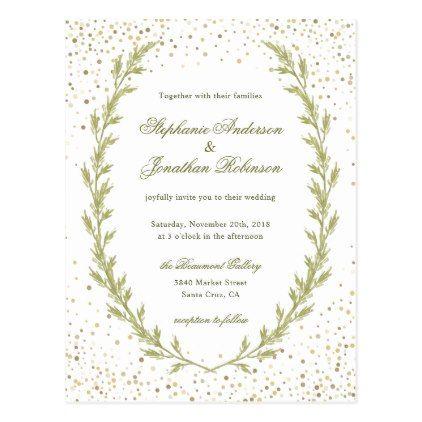 Watercolor Green Heather Wreath Garden Wedding Postcard Wedding - wedding postcard