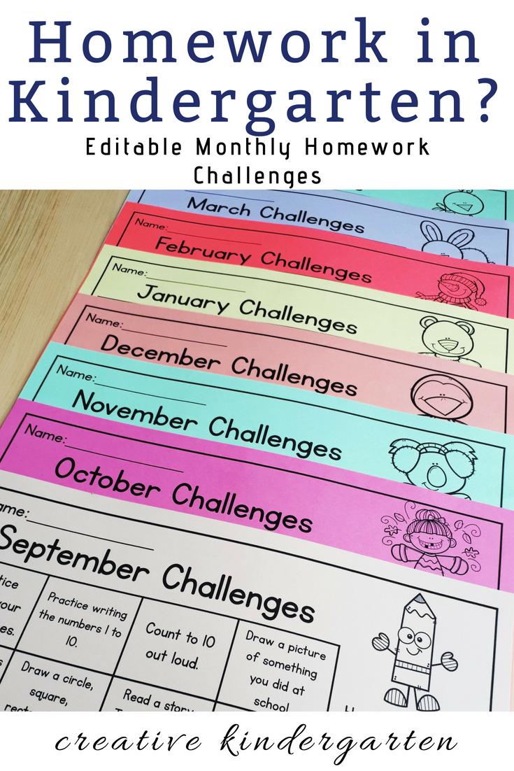 Photo of EDITABLE Monthly Homework Challenges for Kindergarten