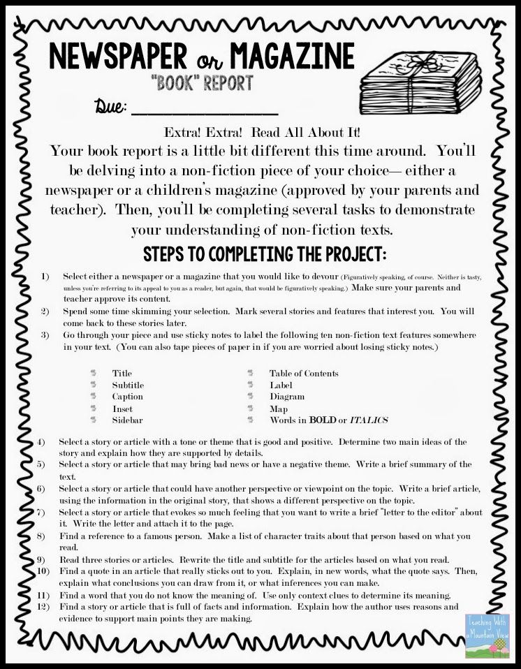 NonFiction Newspaper Or Magazine Book Report  Assignment Sheet
