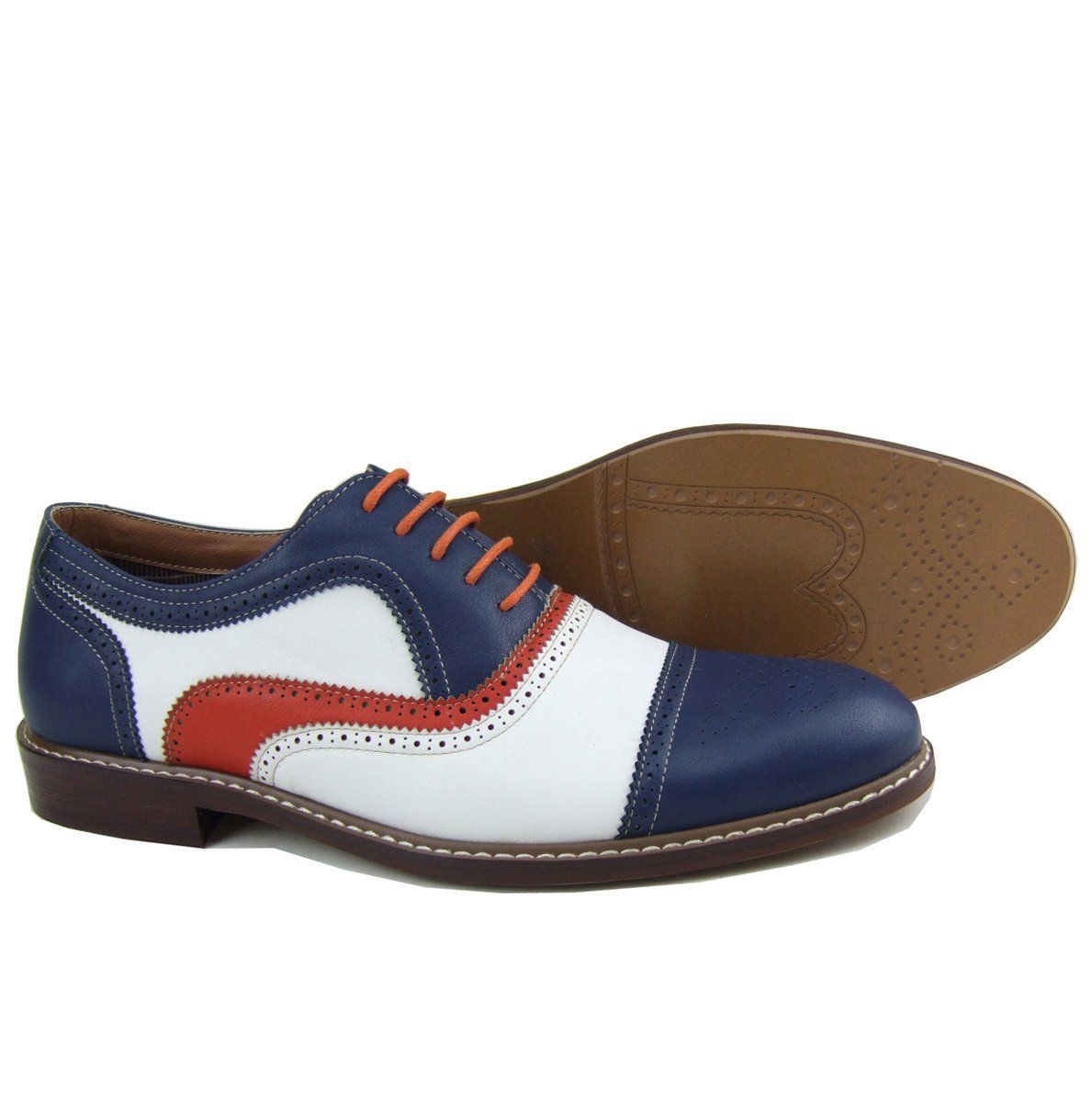 Ferro Aldo Men's Blue Red White Perforated Lace Up Dress Classic Oxford  Shoes