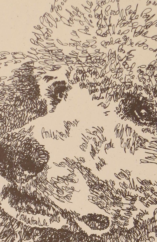 Standard Poodle Artist Kline draws dog art using only