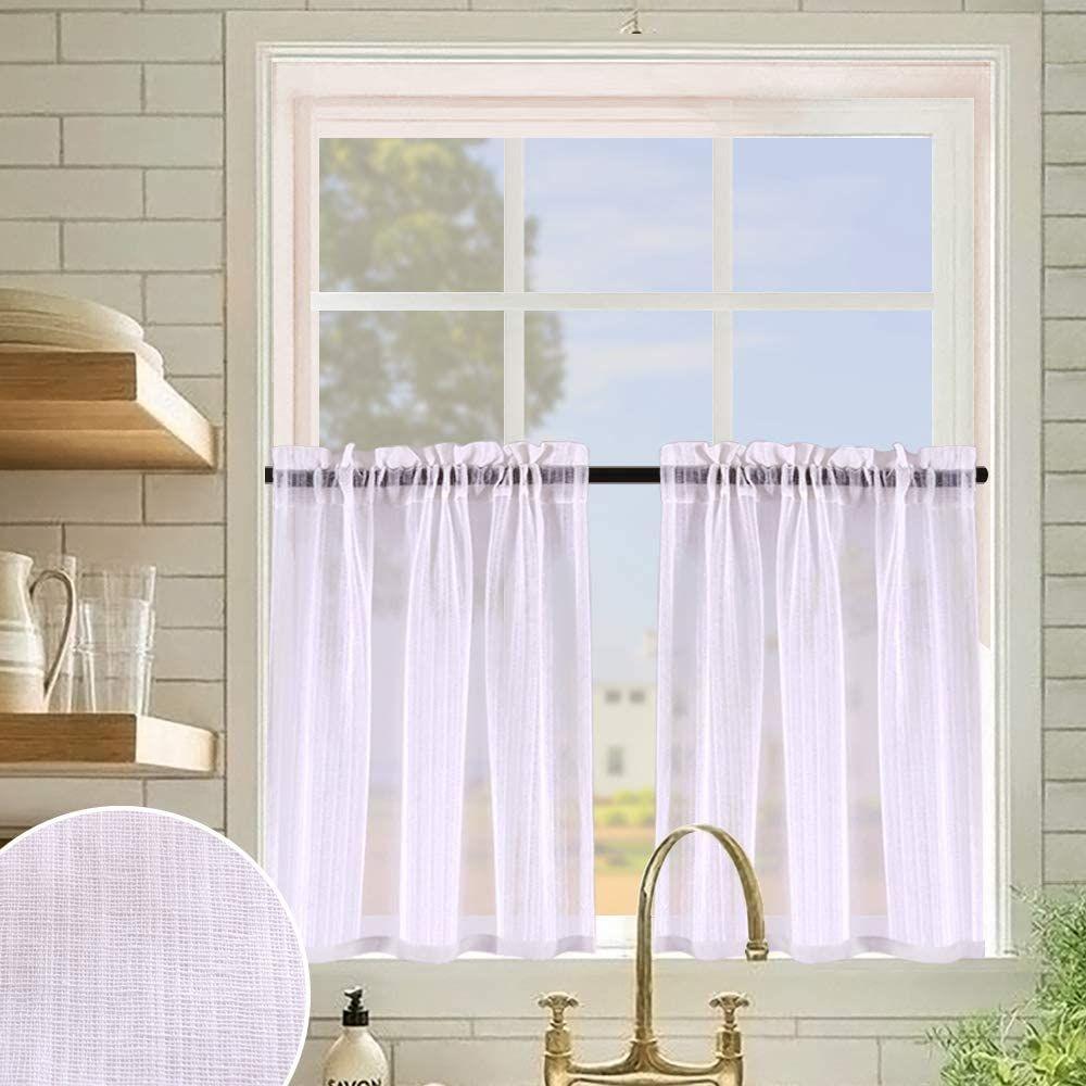 Tier Curtains 24 Inch Faux Linen Slub Weave Textured Rod Pocket