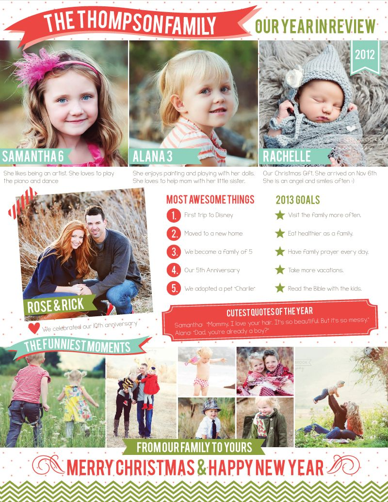 FREE family newsletter template 2012 a year in review