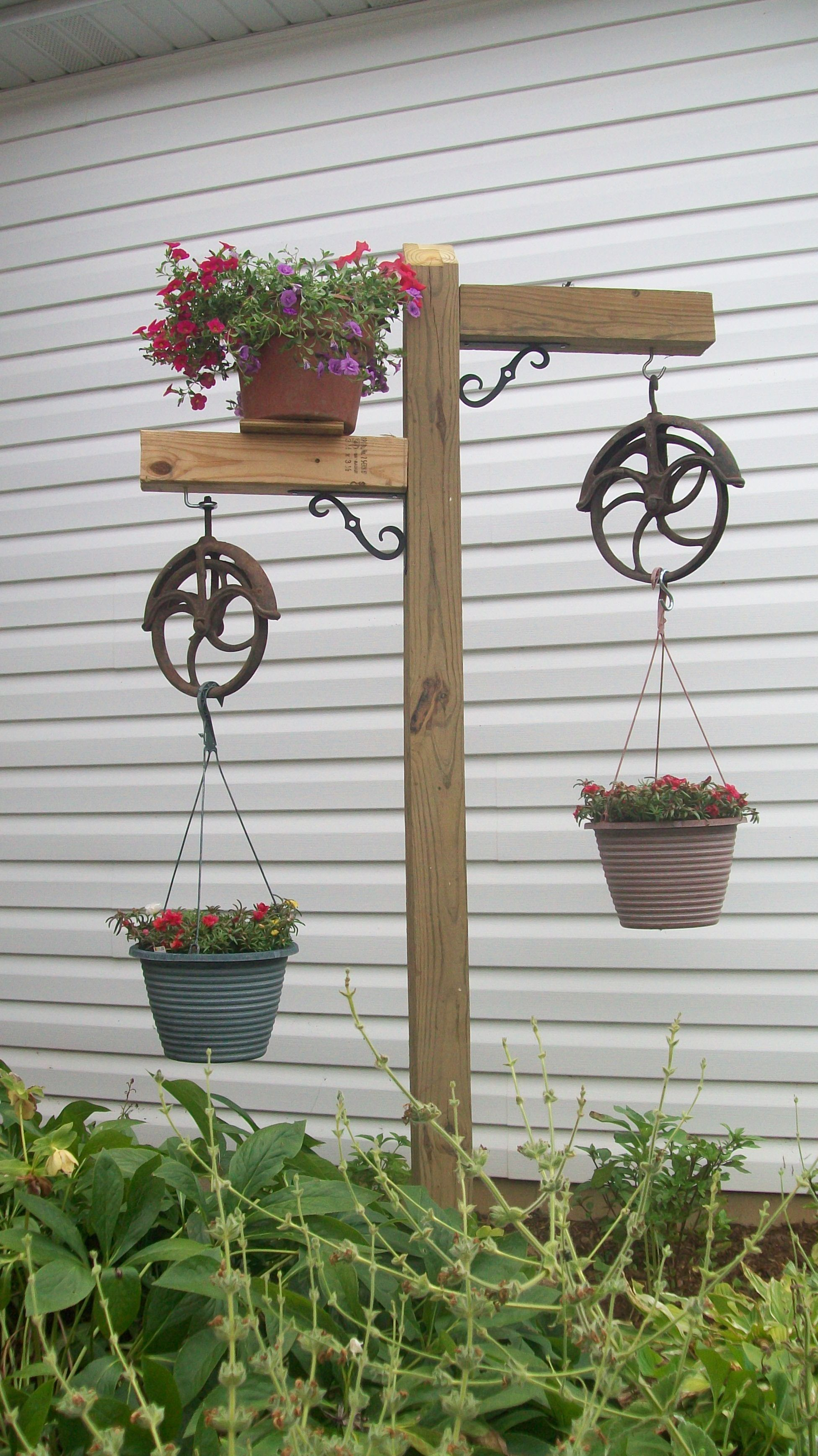Garden decor out of junk  Plant hanger with country charm made by Tim  Yard and Garden