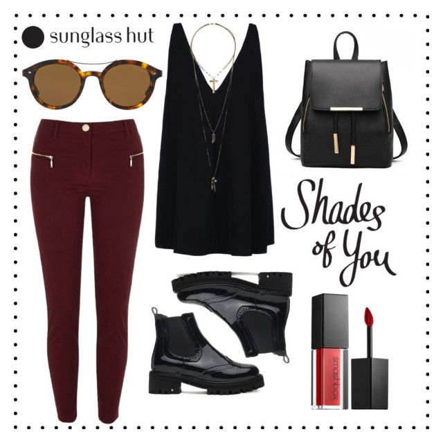 """""""Shades of You: Sunglass Hut Contest Entry"""" by andra-cenan-glavan ❤ liked on Polyvore featuring River Island, STELLA McCARTNEY, Giorgio Armani, Smashbox, Relic and shadesofyou"""