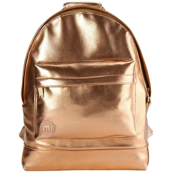 Mi-Pac Metallics Backpack, Rose Gold (£40) ❤ liked on Polyvore featuring bags, backpacks, padded bag, backpack bags, faux-leather bags, travel bag and travel daypack