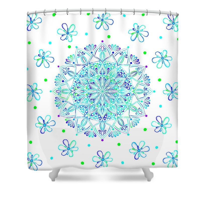 Mandalas Shower Curtain featuring the digital art Floral Mandala by Sharon Norman