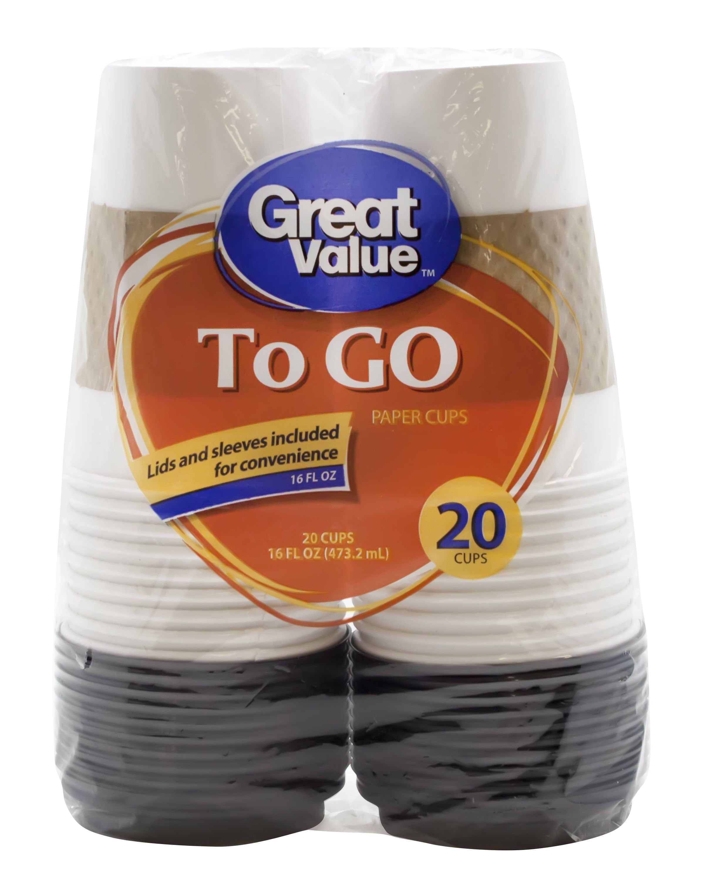 Great value everyday to go cups lids sleeves 16 fl oz