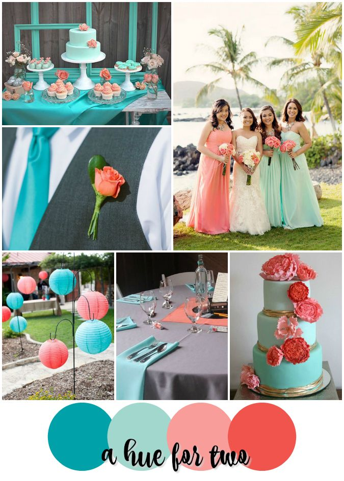 peach and sea green wedding cake teal mint and coral tropical wedding color scheme 18135
