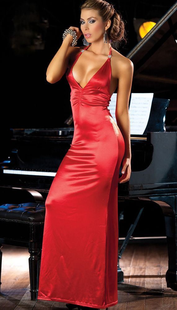 Red Satin Long Dress - Colorful Dress Images of Archive