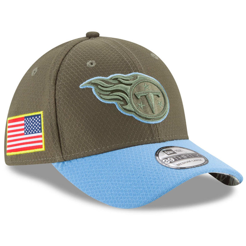 newest 6a1f2 f24a4 Tennessee Titans New Era Youth 2017 Salute To Service 39THIRTY Flex Hat –  Olive