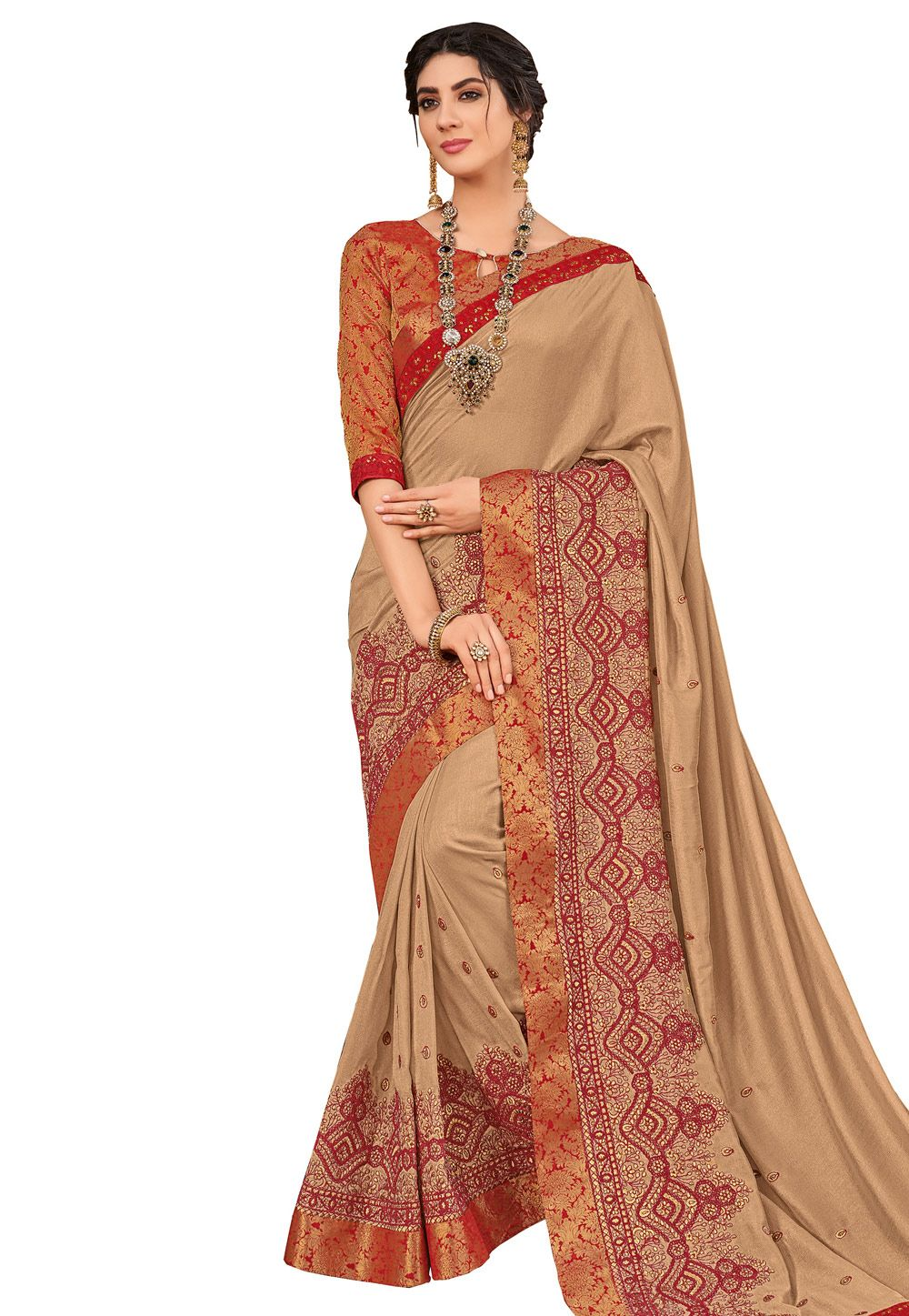 e9d5c08d00 Buy Beige Silk Saree With Blouse 169237 with blouse online at lowest price  from vast collection