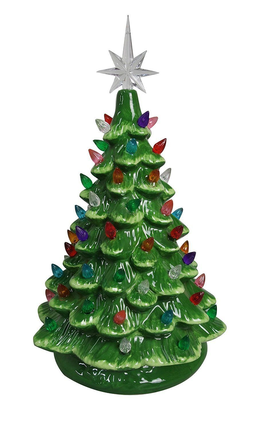 Amazon.com: Christmas Is Forever Lighted Tabletop Ceramic Tree (14.5 ...