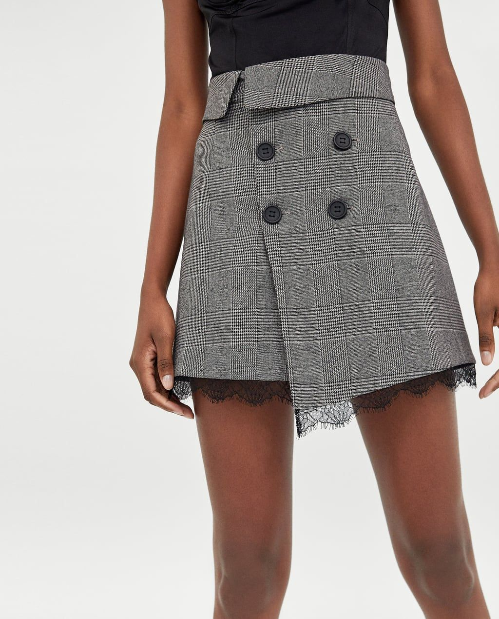 577c86a38 Image 2 of CHECKED MINI SKIRT WITH LACE TRIMS from Zara   Fashion_me ...