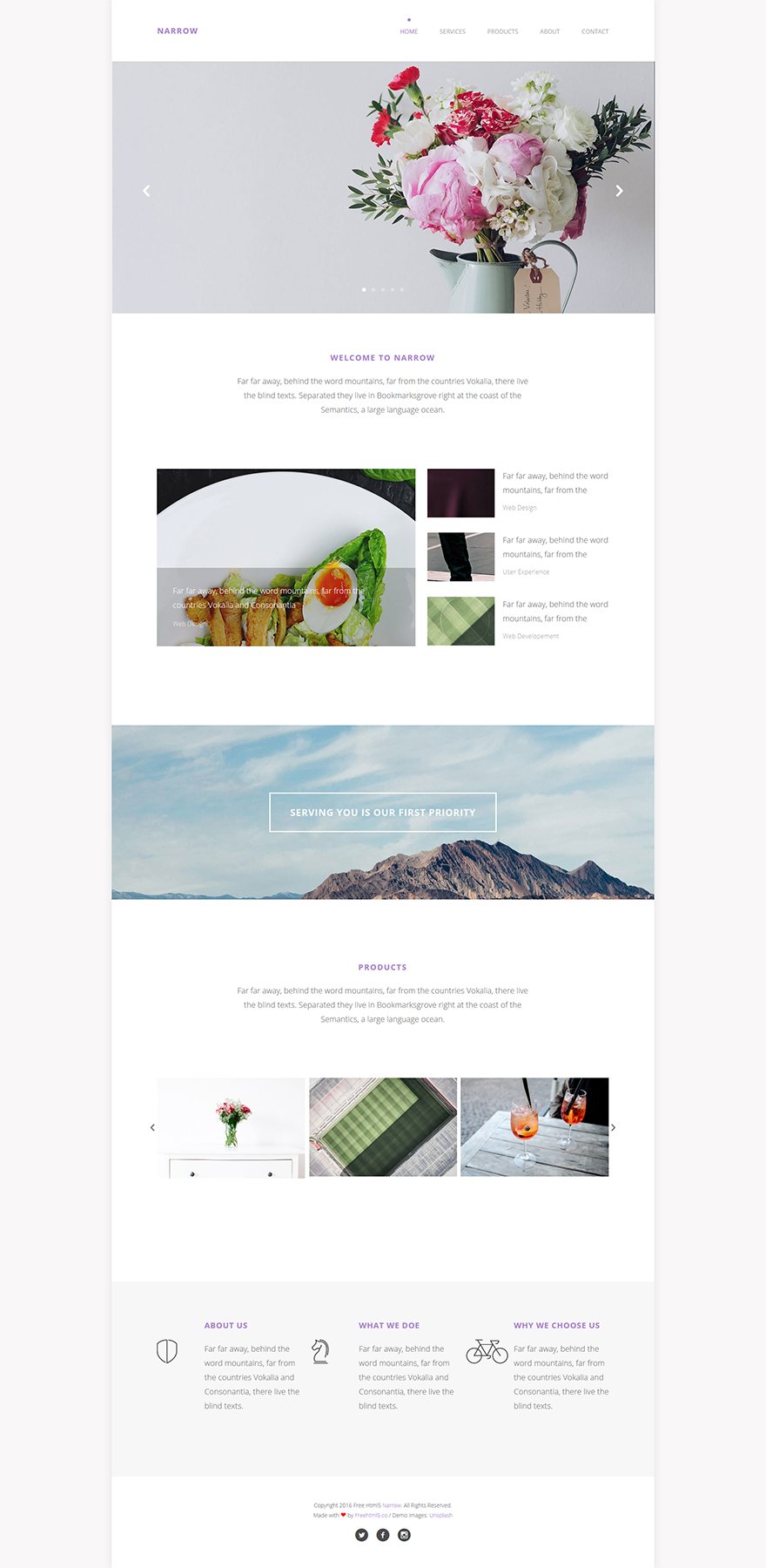Free One Page Website HTML Template Narrow GraphicArmy