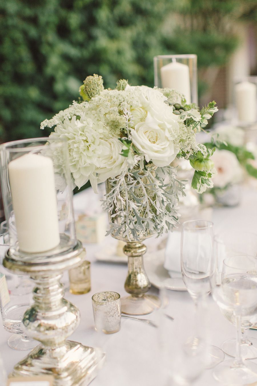 #centerpiece, #candle  Photography: Carlie Statsky Photography - carliestatsky.com  Read More: http://www.stylemepretty.com/2014/06/10/outdoor-elegance-at-the-kohl-mansion/