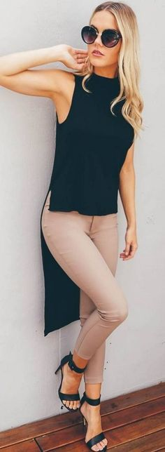 #spring #fashion #outffitideas | High & Low Black + Nude