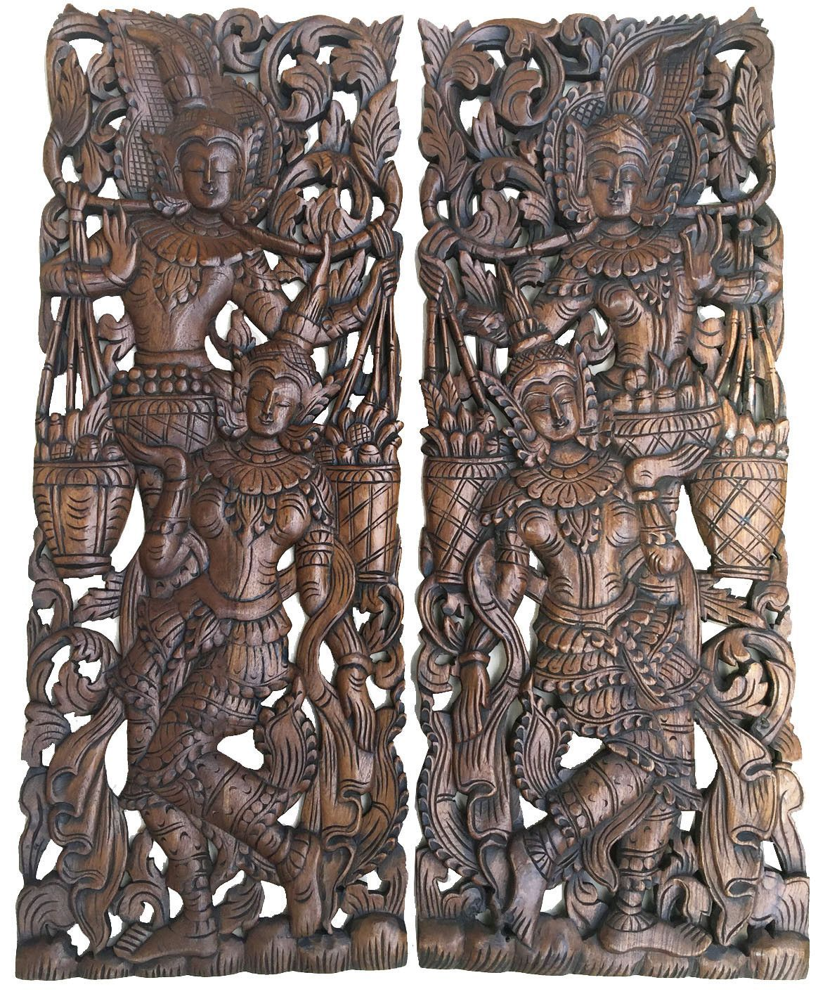 Traditional Thai Figure Carved Wood Wall Decor Panels Asian Home Carving Sculpture