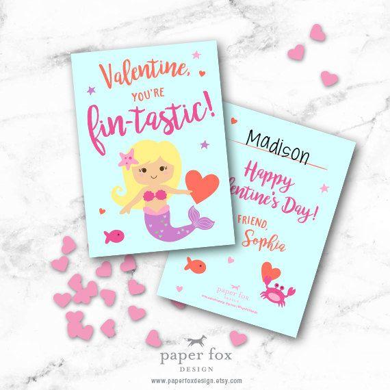 Mermaid Valentine Card Printable Valentine youre FINTASTIC