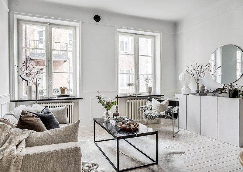 Bright Scandinavian Apartment With Elegant Dark Accents 60 Sqm Photos Ideas Design Luxury Living Room Decor Scandinavian Apartment Living Room Designs