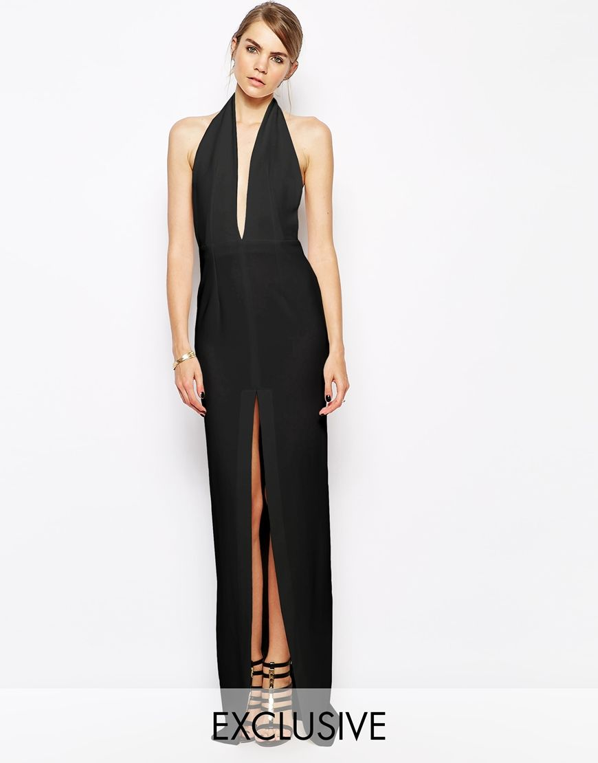 Solace london aeryn maxi dress with plunge neck and thigh split