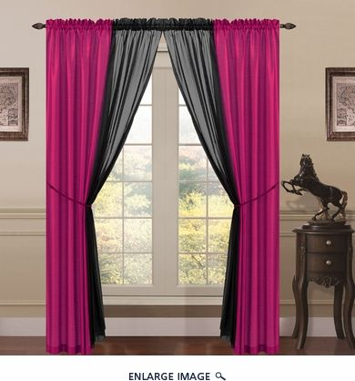 6 Piece Lana Faux Silk Window Curtain Panels Hot Pink Black For