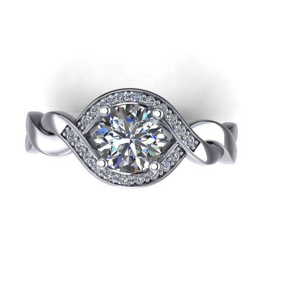 diamond halo moissanite engagement ring , style 47WDM