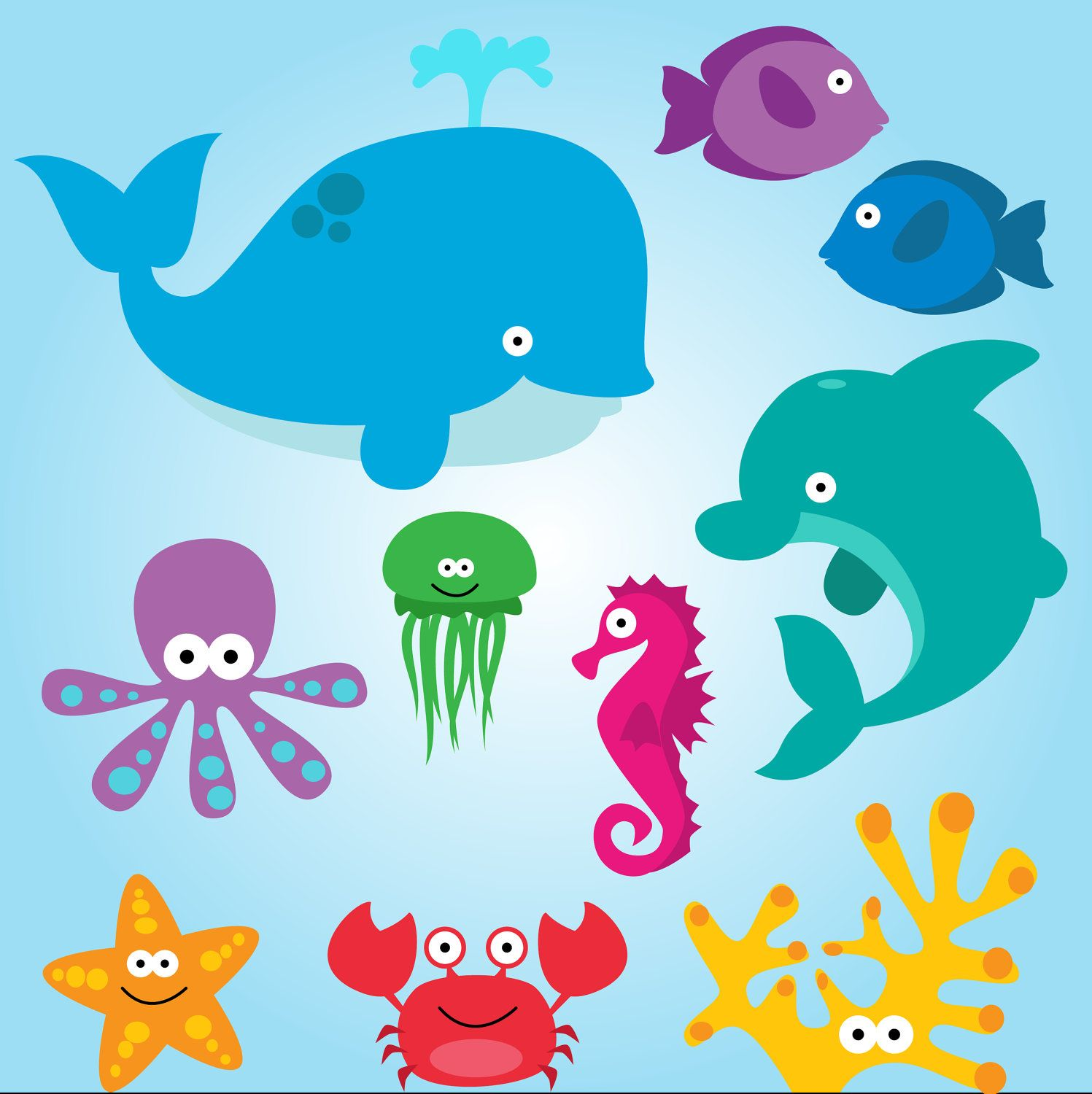 Sea Animal Clipart, Sea Animal Clip Art, Sea Creatures