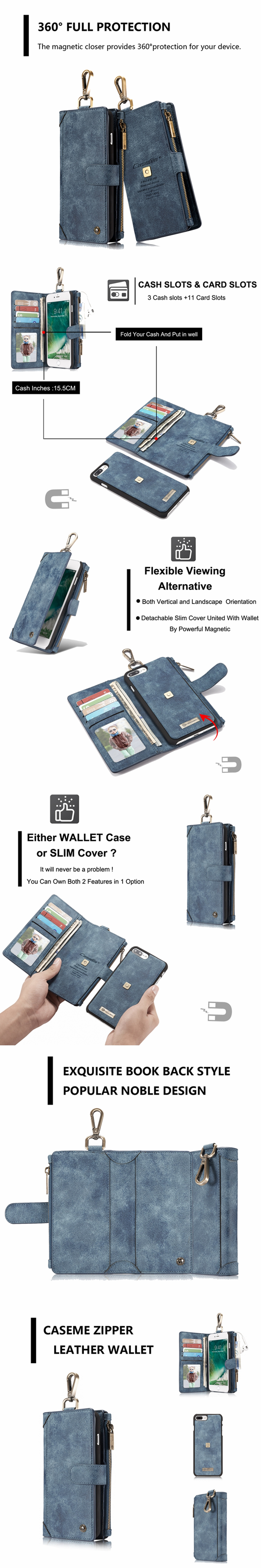 CaseMe Outdoor Magnetic Adsorption Bicycle Hanging Buckle Wallet Case For iPhone 7 Plus Sale - Banggood.com