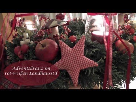Weihnachtsdeko Landhausstil diy adventskranz in rot weiß i landhausstil i advents und