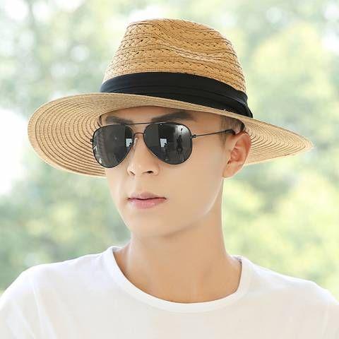 afb254dea1e Beach straw panama hat for men UV sun hats outdoor travel wear http