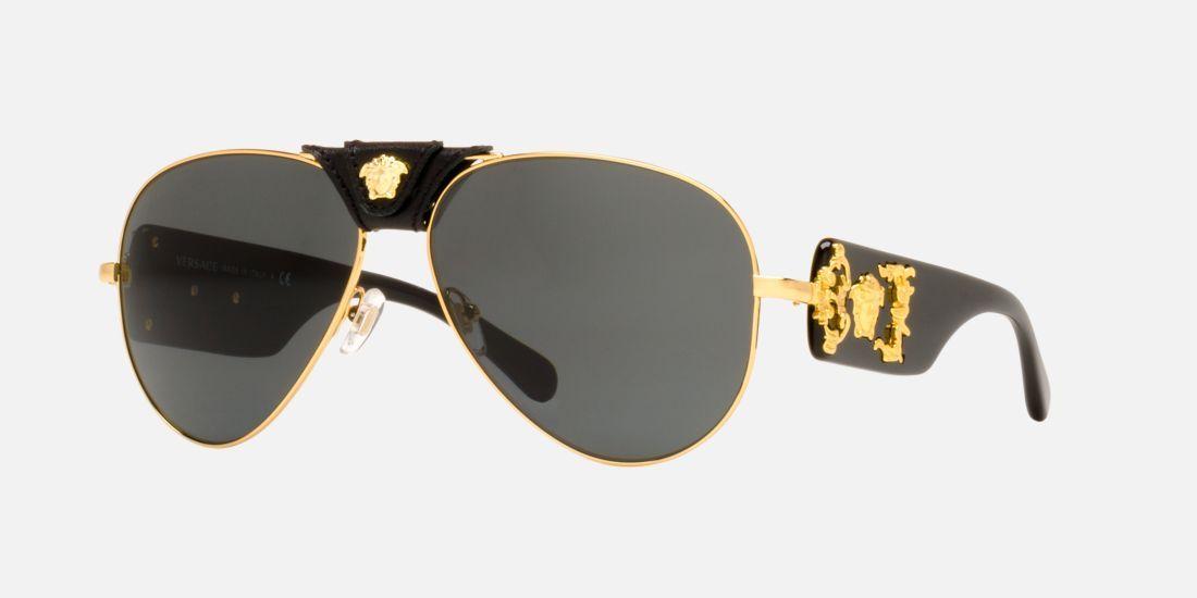 07748c3689d0 Versace VE2150Q 62 Grey   Gold Sunglasses