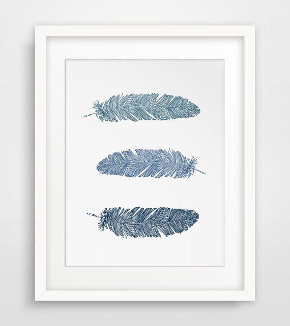 Feather wall art navy blue wall art blue prints feather print feather bohemian wall art wall art navy blue blue feather printable