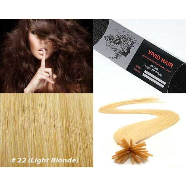 Vivid Hair 25 Strands Straight Keratin I Tip Stick Glue Human Hair