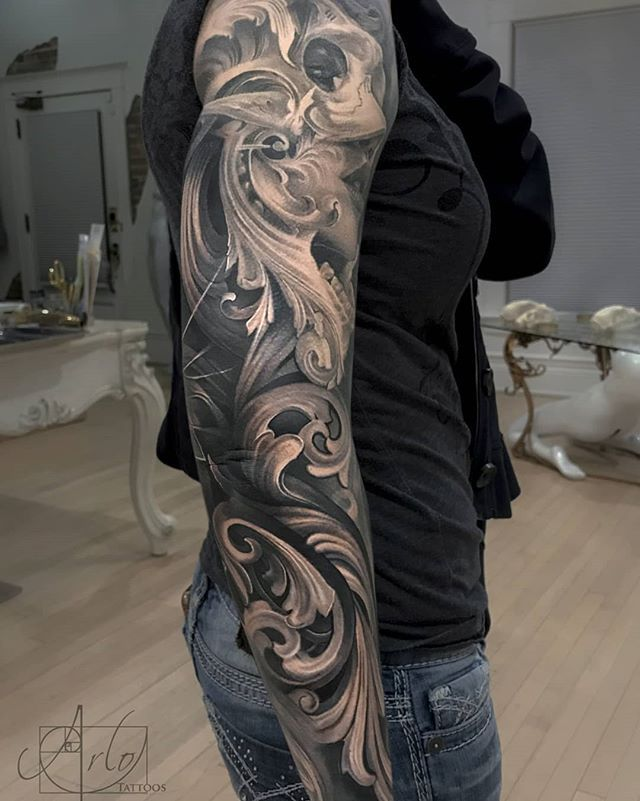 Some healed pics of Heidi's sleeve. Minus some fresh filigree on the back of… - diy tattoo project Wolf Tattoos, Forearm Tattoos, Black Tattoos, Body Art Tattoos, Tattoos Pics, Full Sleeve Tattoo Design, Full Sleeve Tattoos, Disney Tattoos, Tattoos For Daughters