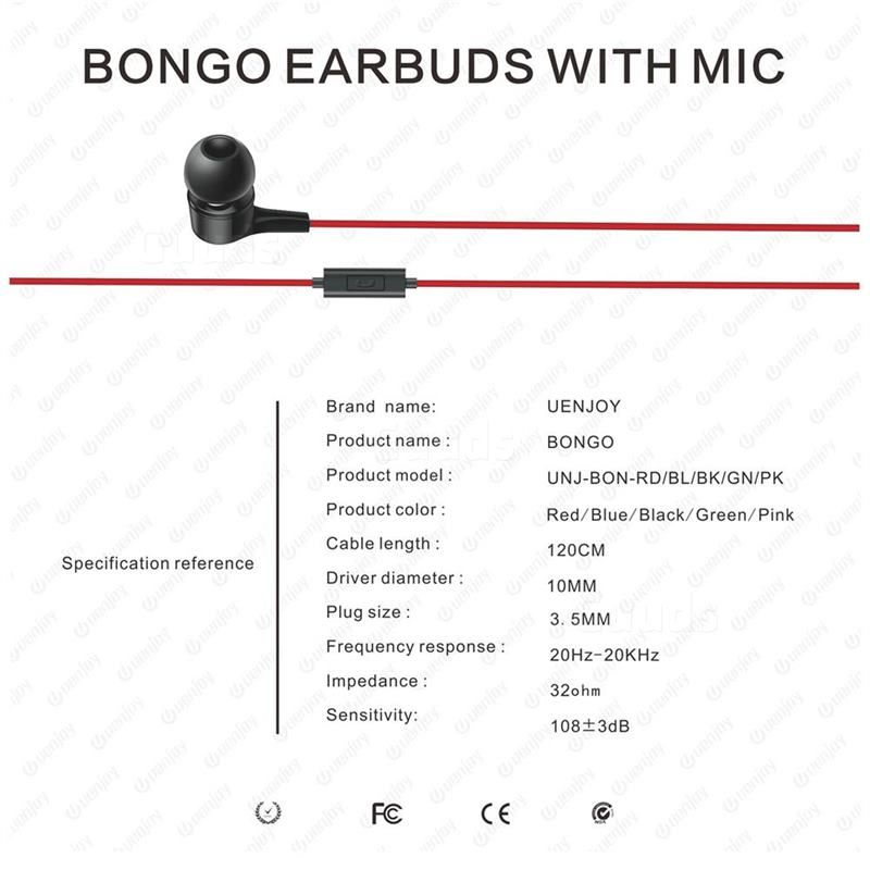 Uenjoy Bongo Stereo Earphones Wired In Ear Eearbuds Headphones Premium Dynamic Clear Sound Red Earphone Guuds Earphones Wire Earphone Stereo
