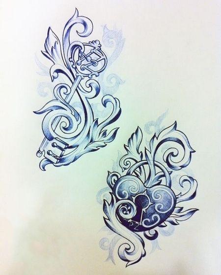 Photo of Key and Locked Heart Tattoo Design
