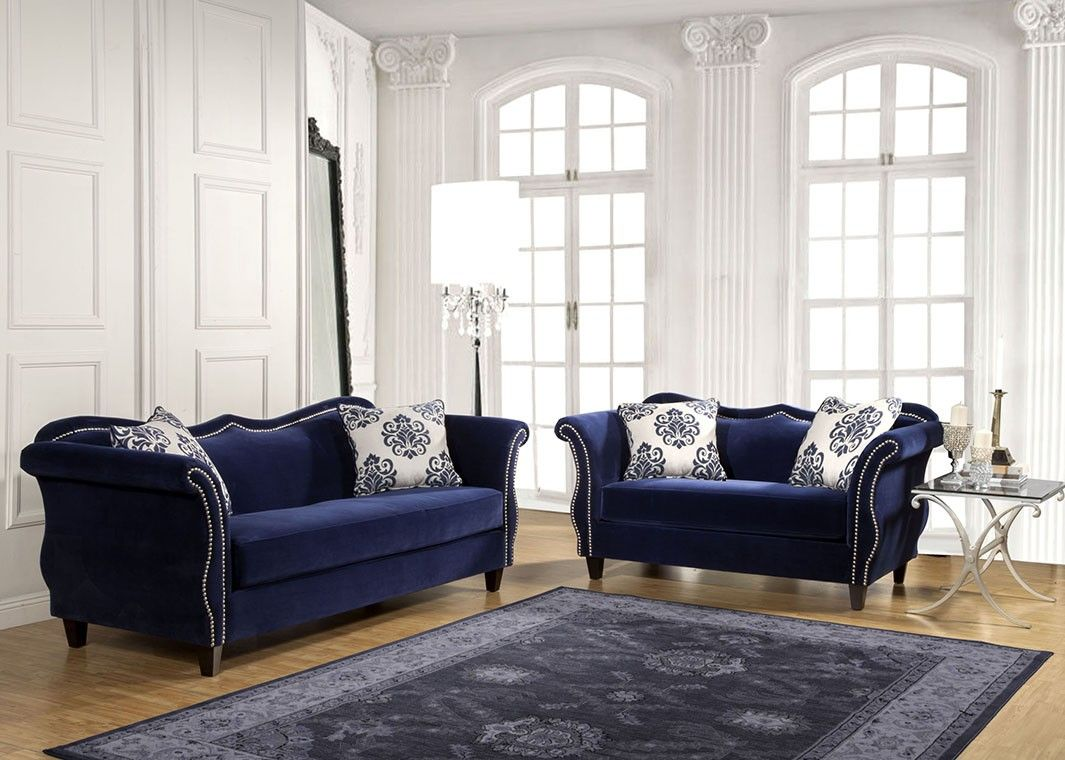Royal Blue Fabric Sofa Nailhead Trim Blue Chairs Living Room