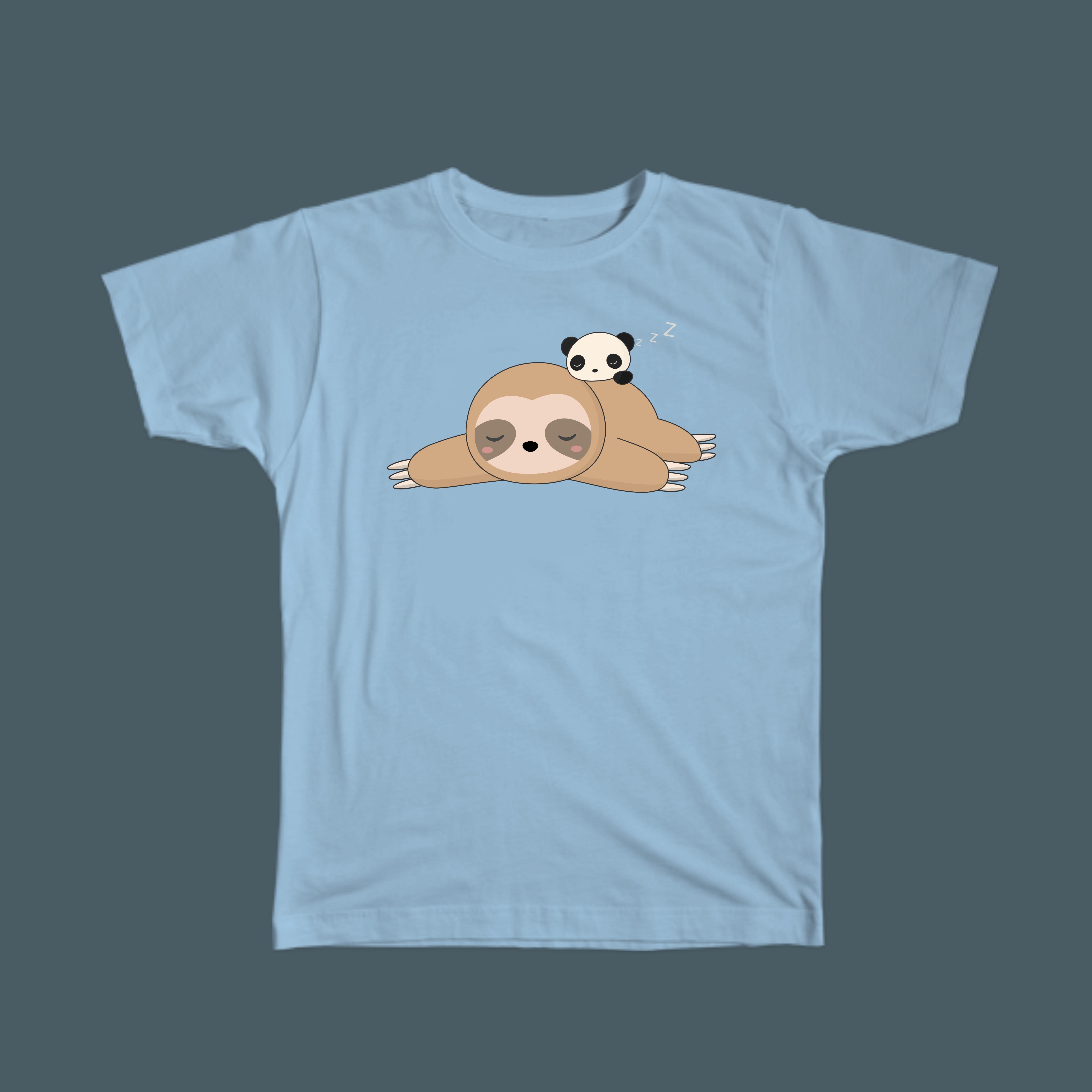 Kawaii cute sloth and panda t-shirt - great for sloth lovers