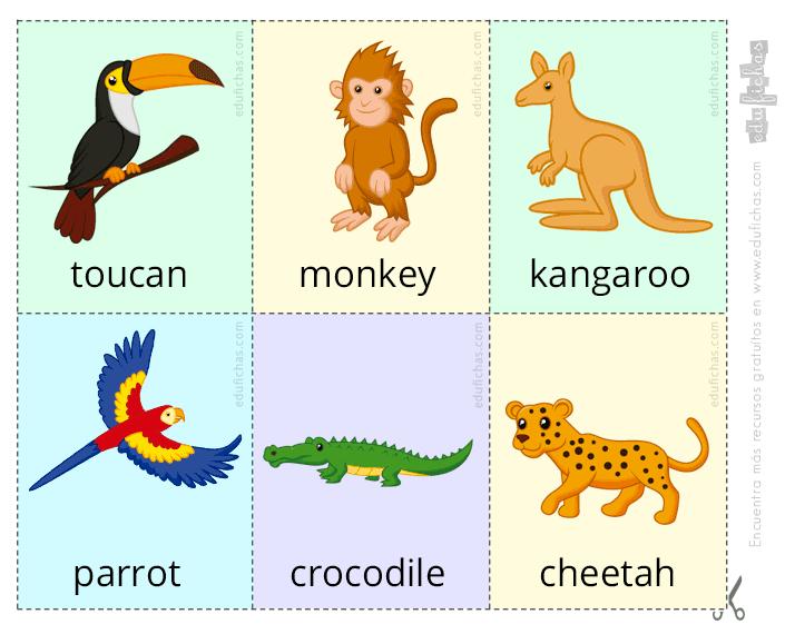 Las Flashcards Son Tarjetas De Aprendizaje Utilizadas De Forma Educativa Didáctica Par Animales En Ingles Imprimibles Para Preescolar Ingles Para Preescolar