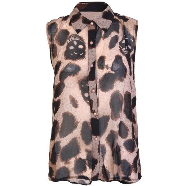 9037c2cb646bf Animal Skulls Chiffon Blouse ( 15) ❤ liked on Polyvore featuring tops