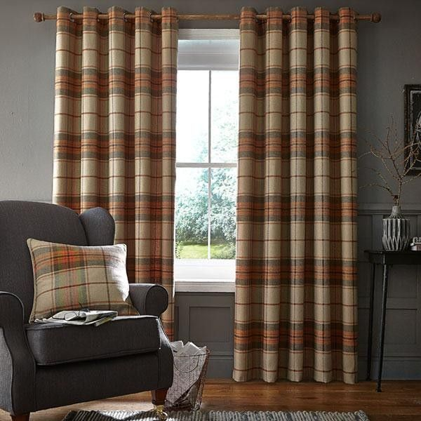 Catherine Lansfield Home Brushed Heritage Check Woven Eyelet Lined ...