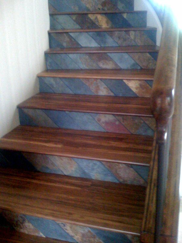 Slate / Wood. Tile StairsStair TreadsFront ...