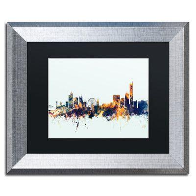 """Trademark Art """"Manchester Skyline Blue"""" by Michael Tompsett Framed Graphic Art Size: 1"""