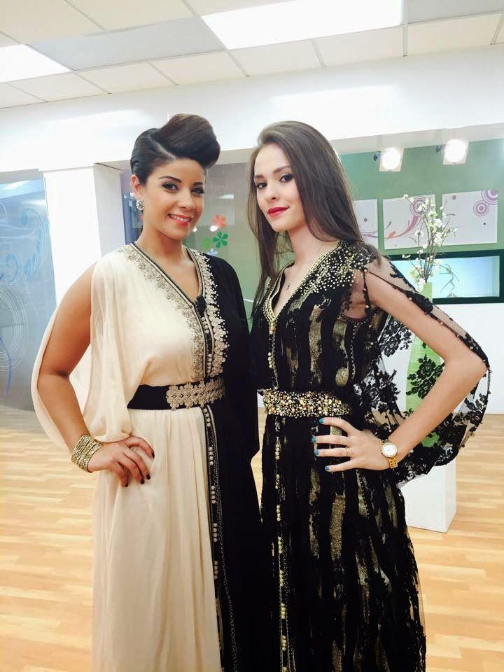 Nouveau style caftan marocain 2015 mi noir ni blanc porté par leila hadioui  et caftan noir de luxe par autre mannequin professionnelle. découvrez  maintenant ...