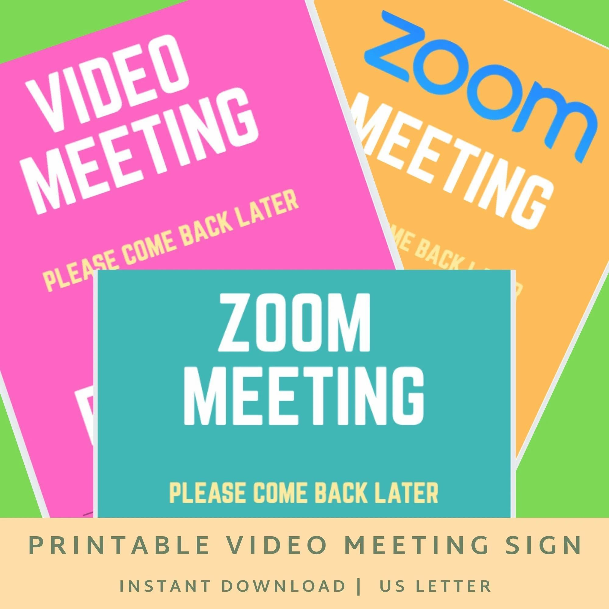 Zoom Video Meeting Printable Signs Meeting In Progress Signs Business Meeting Signs Printable Signs Business Signs Business Plan Template