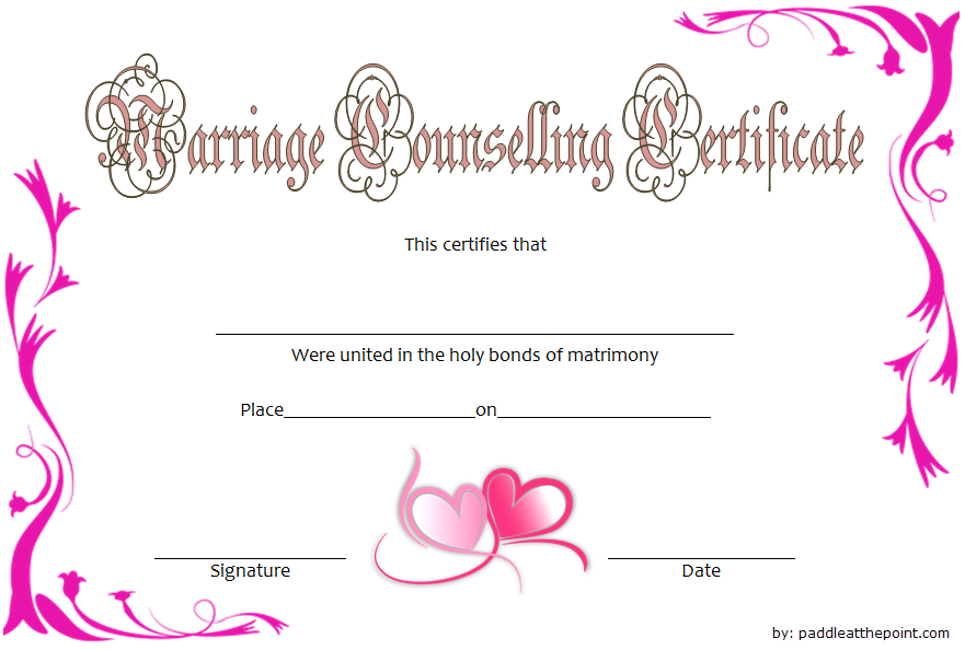 Marriage Counseling Certificate Template FREE Printable 1
