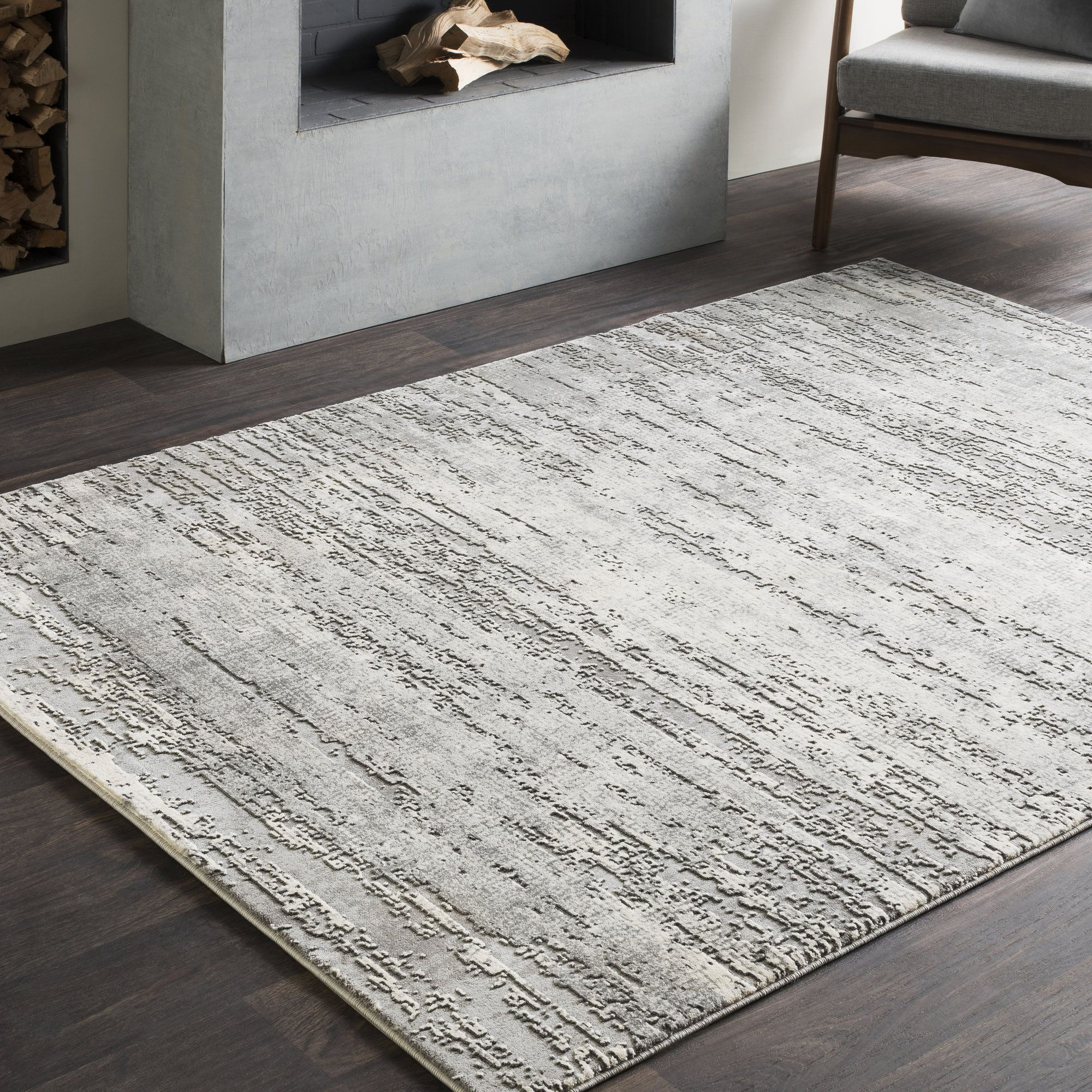 Best Brooks Distressed Modern Abstract Gray Cream Area Rug 400 x 300