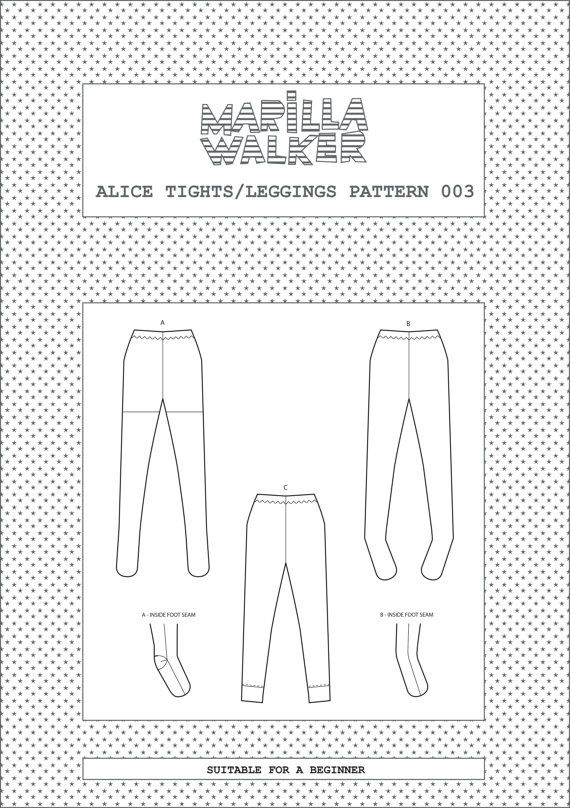 PDF Alice tights/leggings sewing pattern | Couture femme | Corte y ...